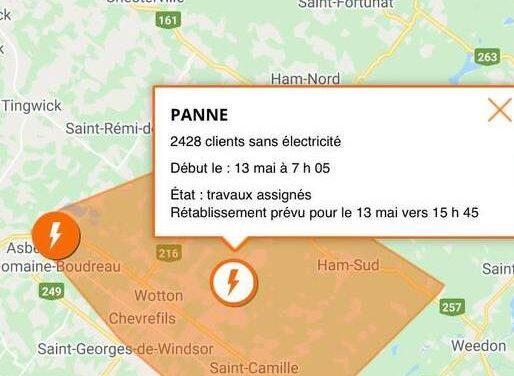 Plus de 2400 personnes sans électricité dans la MRC des Sources